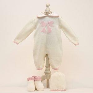 Baby - Strickset - Overall, Mütze Und Söckchen