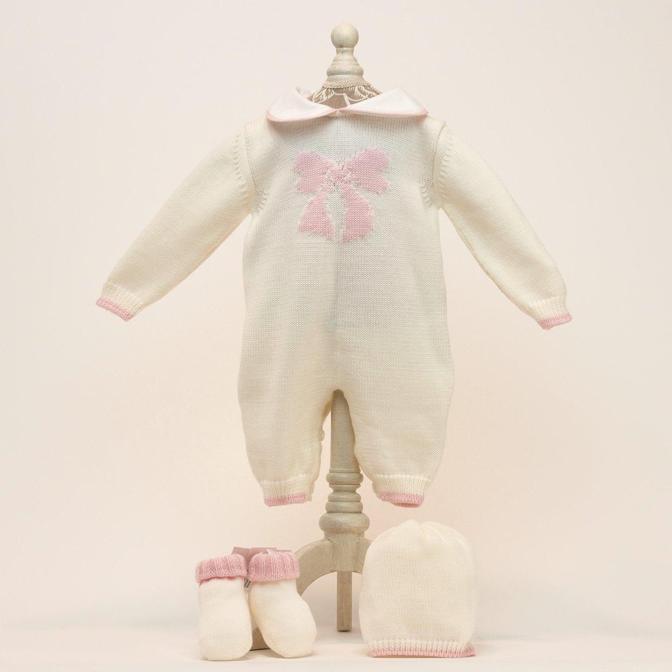 Babyshop - Baby Erstlings Set bestehend aus Strickoverall, Haube und Söckchen
